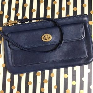 Navy Blue Leather Coach Wristlet / Wallet